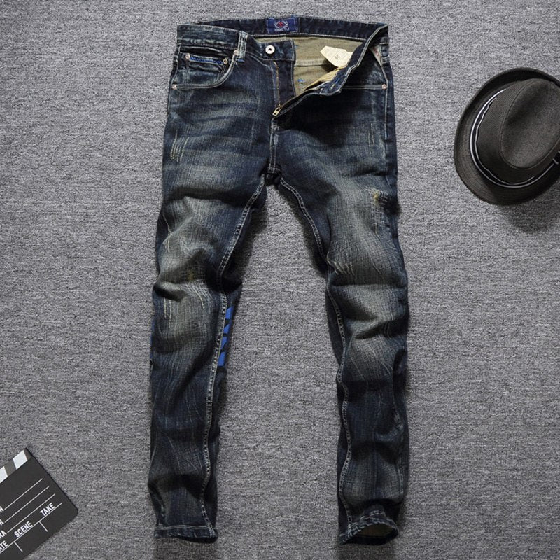 Men Jeans High Quality Slim Fit Classical Jeans Cotton Denim Long Pants Brand Printed Jeans Men Size 29-38 - Emporio Magno