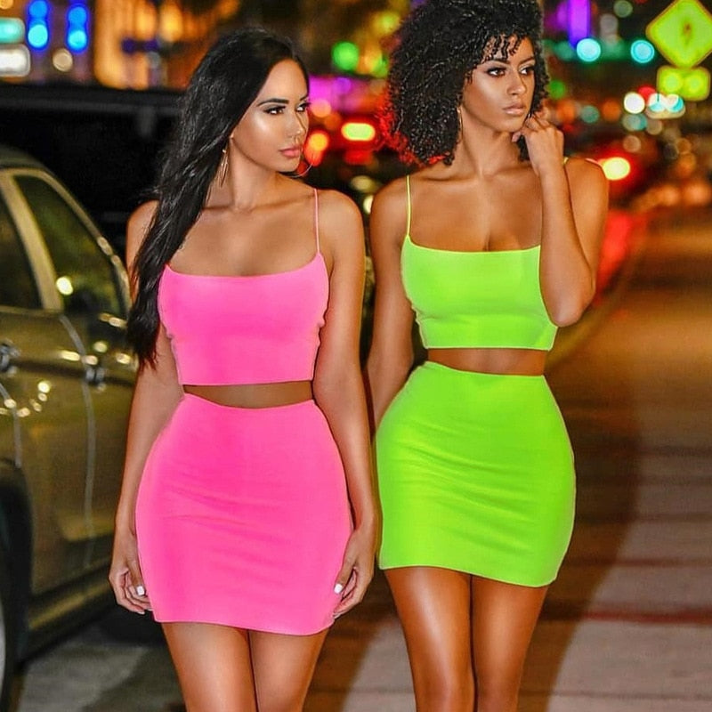 Orange Green Bodycon Two Piece Skirt Set Womens Sexy Club Outfits 2 Piece Matching Sets - Emporio Magno