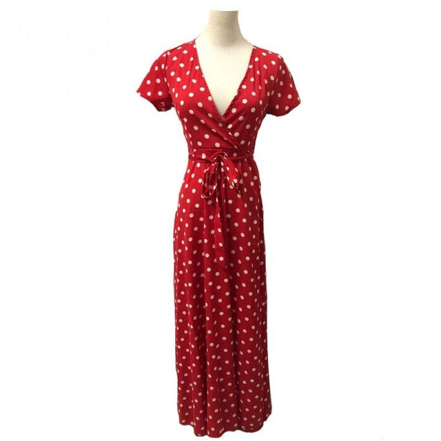 Summer Ladies Long Dress Red White Dot Beach Dress Maxi Dress Women Evening Party Dress Sundress - Emporio Magno
