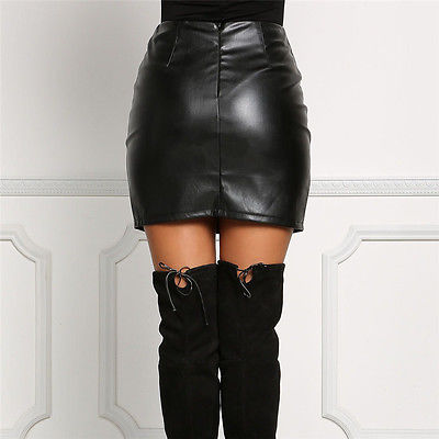 Leather Pencil Bodycon High Waist Lace Up Skirt Black Leather Short Mini A-Line Skirts - Emporio Magno