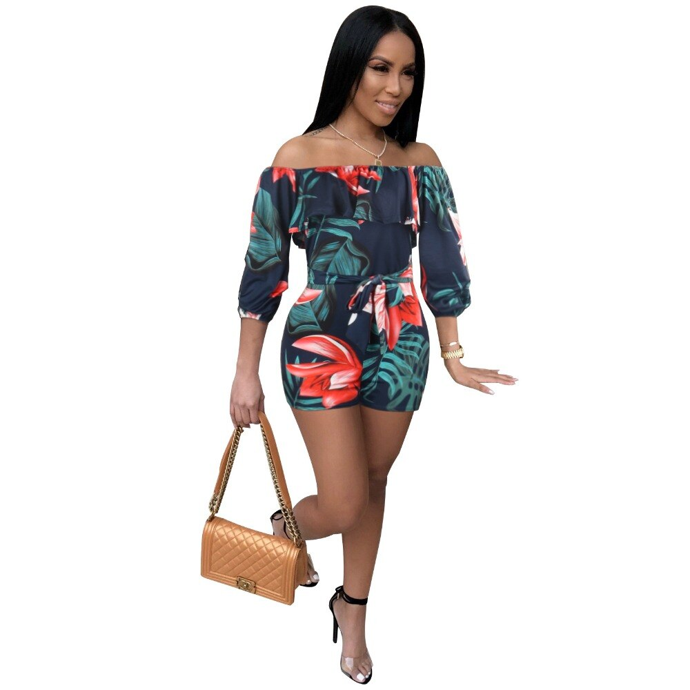 Flower Printed Casual Short Jumpsuit Summer Party Playsuit - Emporio Magno
