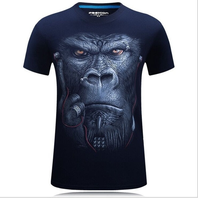 Men's animal T-Shirt orangutan/gas monkey/Wolf 3D Printed T-Shirts Men Funny tees tops tee shirt large size - Emporio Magno
