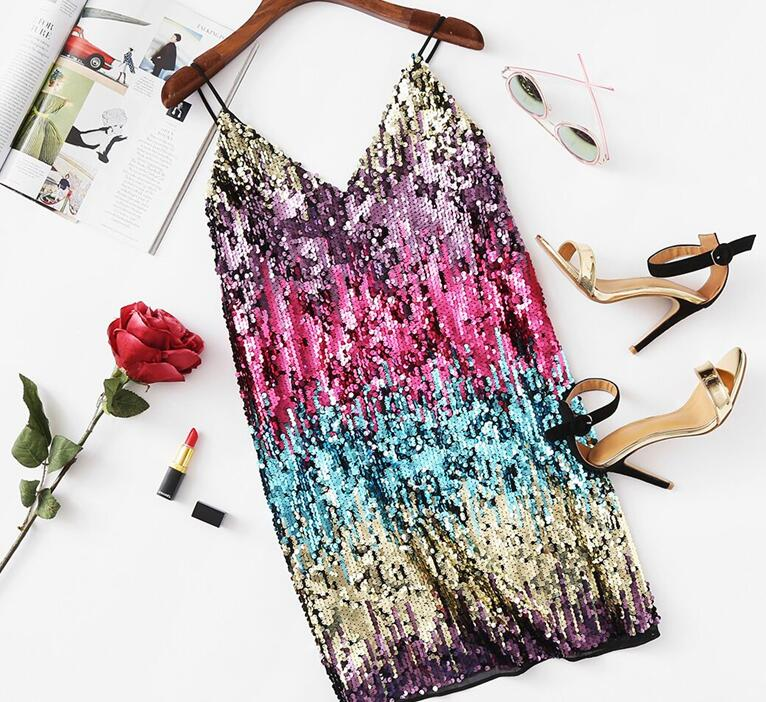 Colorful Sequin Party Club Dress Women  A Line Mini Summer Cami Dresses Fashion Sleeveless V Neck Hot Dress - Emporio Magno