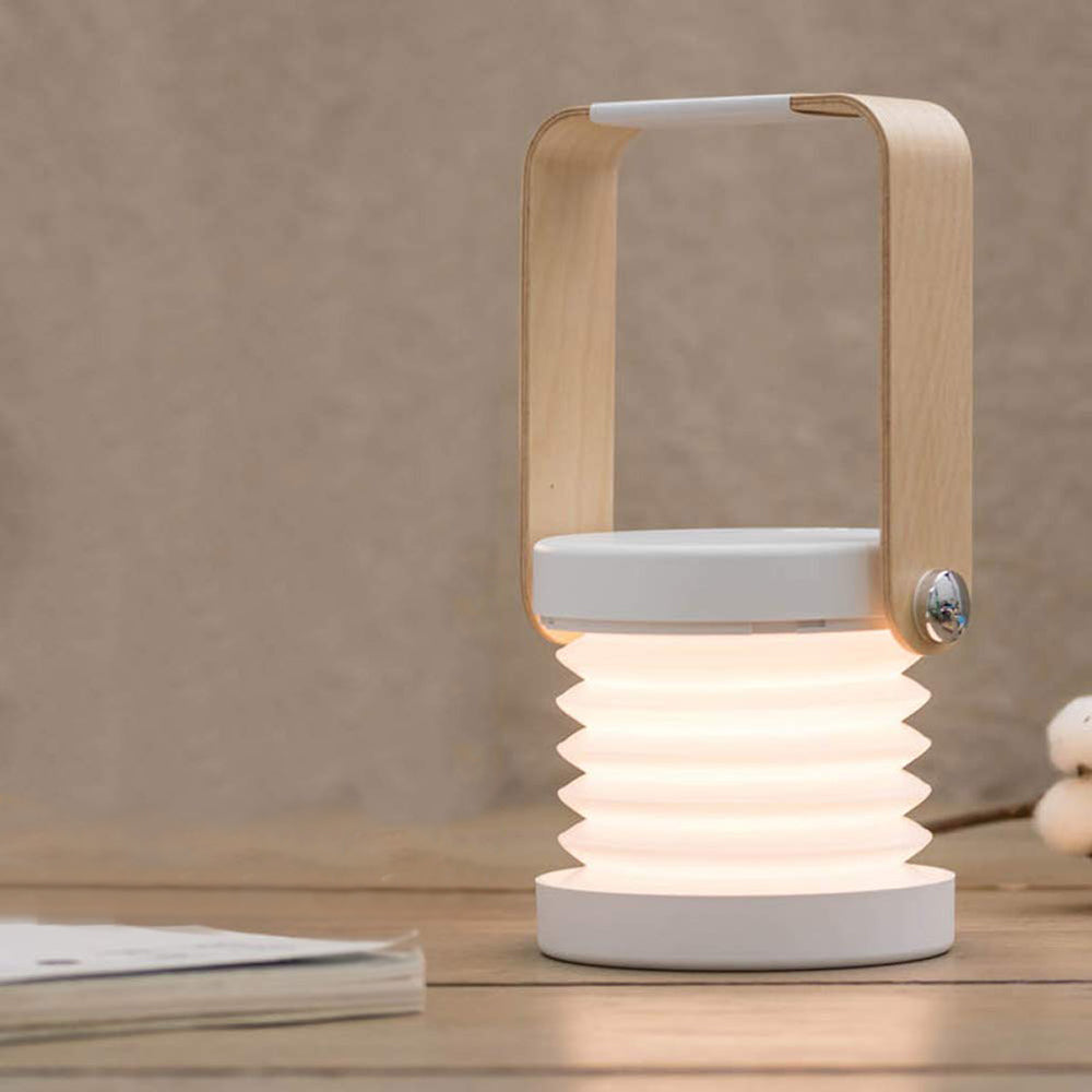 Creative wooden handle portable lantern lamp telescopic folding led table lamp charging night light reading lamp - Emporio Magno