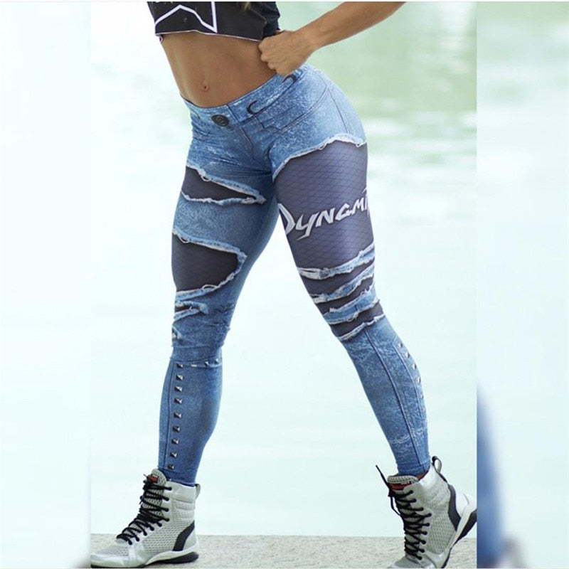 Women 3D Printed Fake Denim Blue Mesh Leggings Elastic Workout Legging Pants Fashion 2019 Female Leggings Plus Size Femme - Emporio Magno