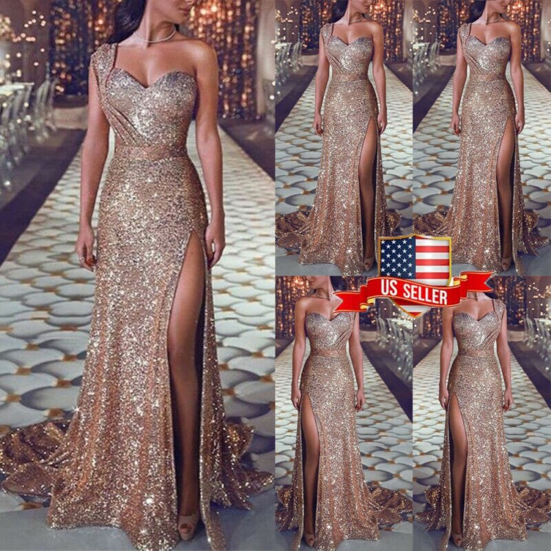 Women Sexy Sequin Glitter Long Dress Sparkly Bodycon Gown Lady Elegant Evening Prom Party Dress - Emporio Magno