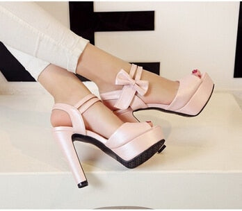 High-heeled Fish Mouth Shoes Bow Sexy Rough With Waterproof Platform Roman Women's Shoes - Emporio Magno