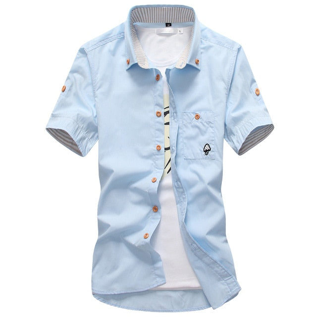 Mushroom Embroidery Mens Short Sleeve Casual Shirts Summer Cotton Shirts - Emporio Magno