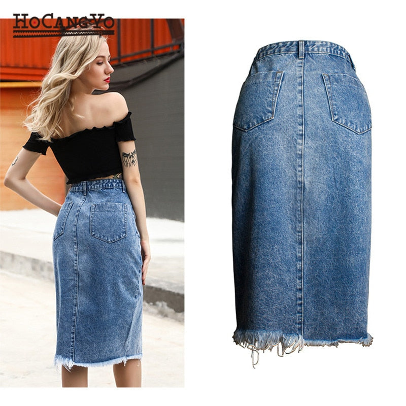 Women Midi Skirts High Waist Large Size Cotton Jeans Skirt Women Casual Tassels Washed Denim Skirts Sexy Split MIDI Skirt - Emporio Magno