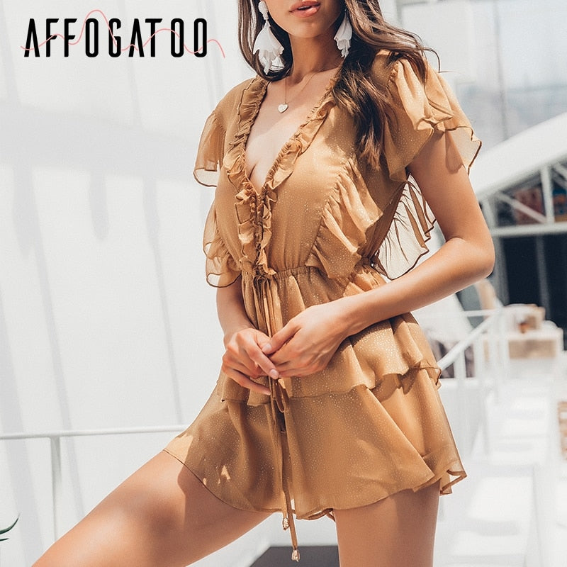 v-neck Summer Jumpsuit Women Elegant Ruffle Victoria Beach Short Romper High Waist Casual Playsuit Female Overall - Emporio Magno
