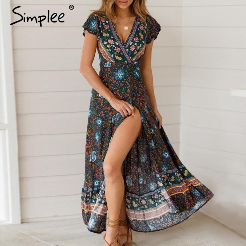 Simplee Vintage floral print summer dress Ruffle split sash sexy long dress Bohemian women dress holiday beach dress vestidos - Emporio Magno