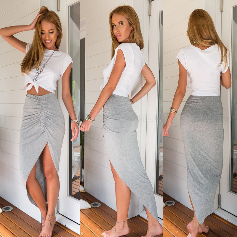 Women Ladies Cotton Wrap Asymmetric Drape Ruched Maxi Party Side Split Long Maxi Skirt Pencil Skirts Gray Black - Emporio Magno