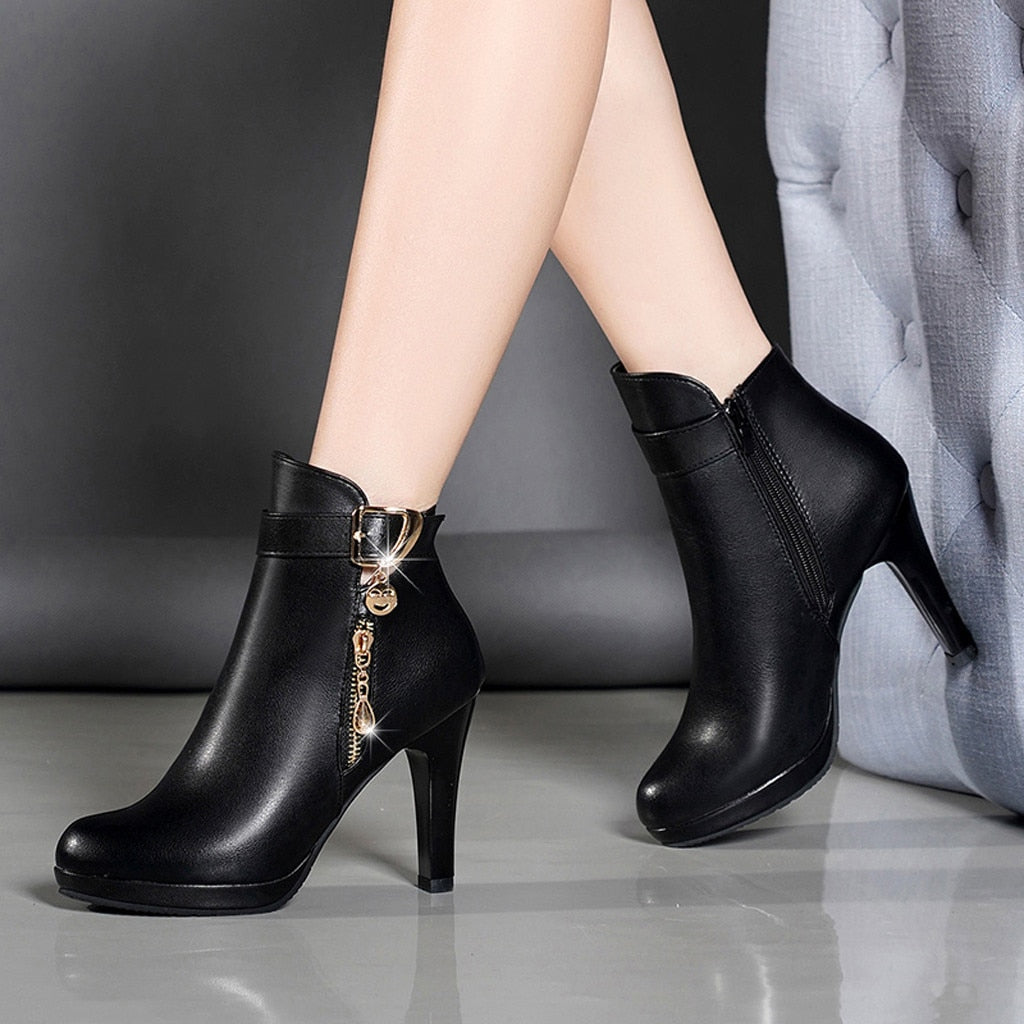 Boots Women Ankle Boots For Women Thin Heel Zipper Casual Female Shoes Leather Boots Botas Mujer - Emporio Magno