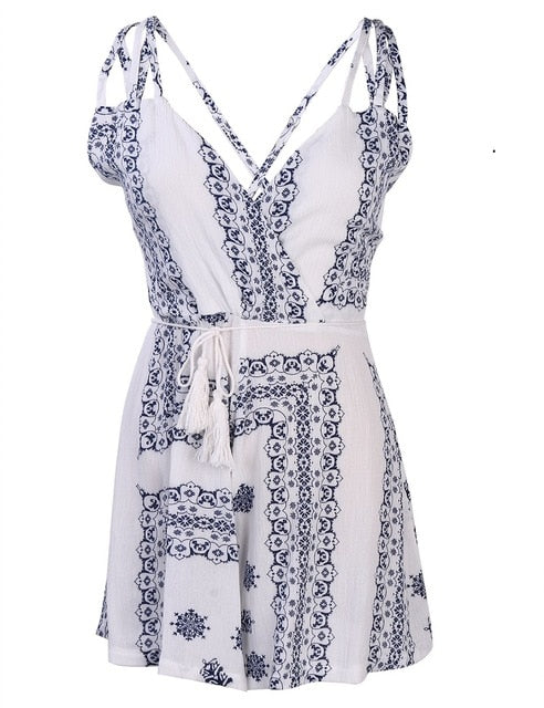 Summer Macacao Feminino Lace Halter V Neck Floral Playsuit Sexy Shorts Rompers Womens Overall Jumpsuits - Emporio Magno
