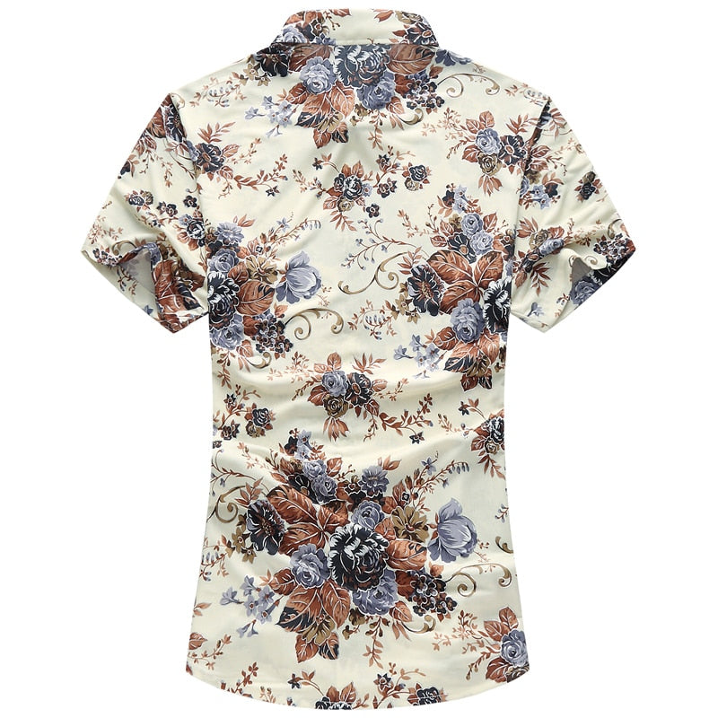 High quality silk cotton men's shirt 2019 summer fashion printed casual shirt short sleeve slim business men's shirt  size M-7XL - Emporio Magno