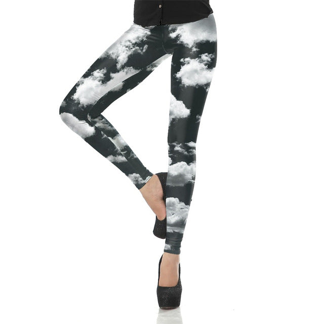 3d Digital Grey Sky Cloud Printed Women Leggings - Emporio Magno
