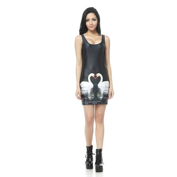 Vintage Dresses 3D Pills Dress Tank Digital Printed Sexy Mini Bodycon Milk Clothing - Emporio Magno