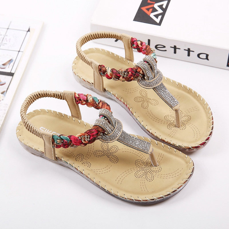 Summer Sandals Women T-strap Flip Flops Thong Sandals Designer Elastic Band Ladies Gladiator Sandal Shoes Zapatos Mujer - Emporio Magno