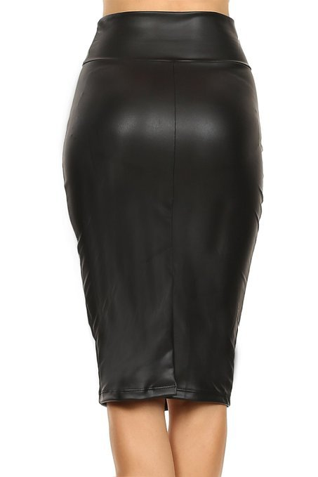 Womens Plus Size Black Leather Midi Pencil Skirt Woman Casual High Waist Bodycon Skirts Slit Saias Lapis - Emporio Magno