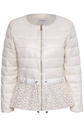 Spring Quilted Jacket with Ribbon Tie at Waist