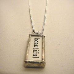 "Silver ""Beautiful"" Charm Necklace"