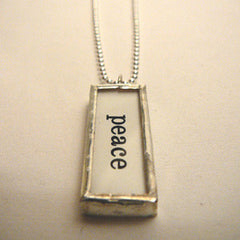 "Silver ""Peace"" Charm Necklace"