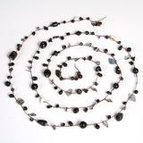 Crystal and Bead Wrap Necklace (Ebony)