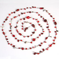 Crystal and Bead Wrap Necklace (Crimson)