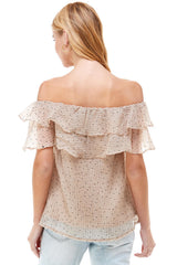 Off Shoulder Ruffle Polka Top