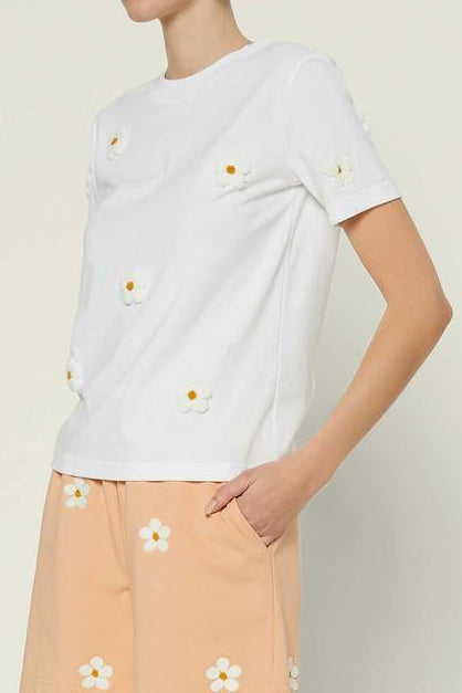 Daisy Embroidery Cotton Tee