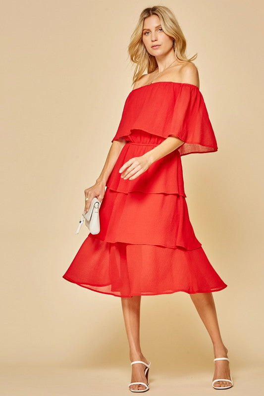 Red Off Shoulder Tiered Midi Dress