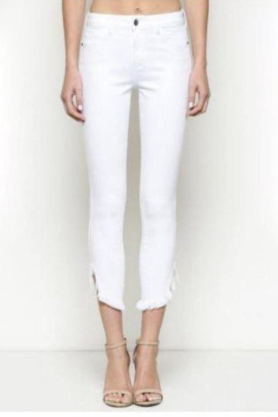 White High Rise Fringe Denim