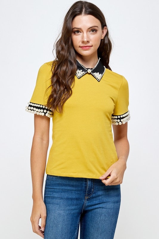 Pearl Detail Collar Shirt (Mustard, Pink and White)