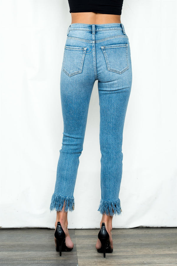 High Rise Skinny Jeans With Bottom Fray