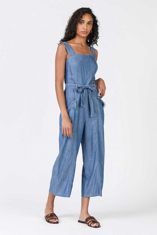 Chambray Jumpsuit With Straps
