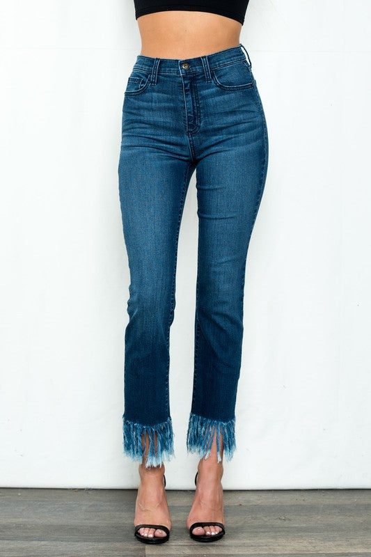High Rise Straight Leg Jeans With Fringe