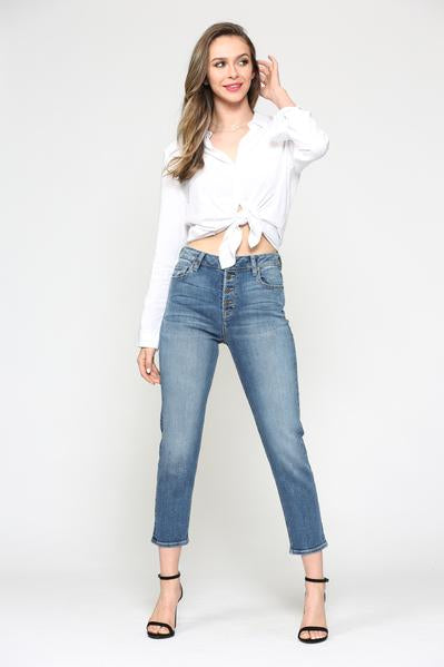 High Rise Front Buttons Mom Jeans