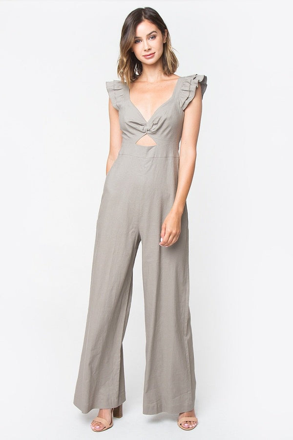 Taupe Jumpsuit With Peekaboo