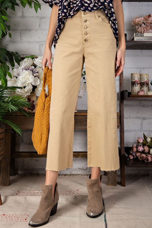 Button Front Stretch Twill Pants