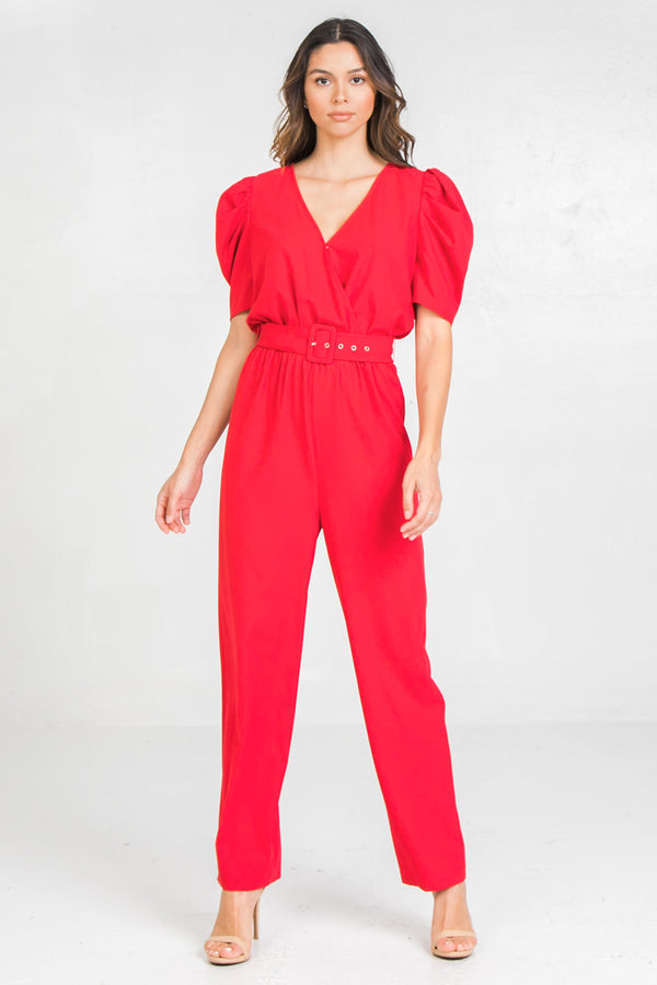 Woven Red Puff Sleeve Jumpsuit