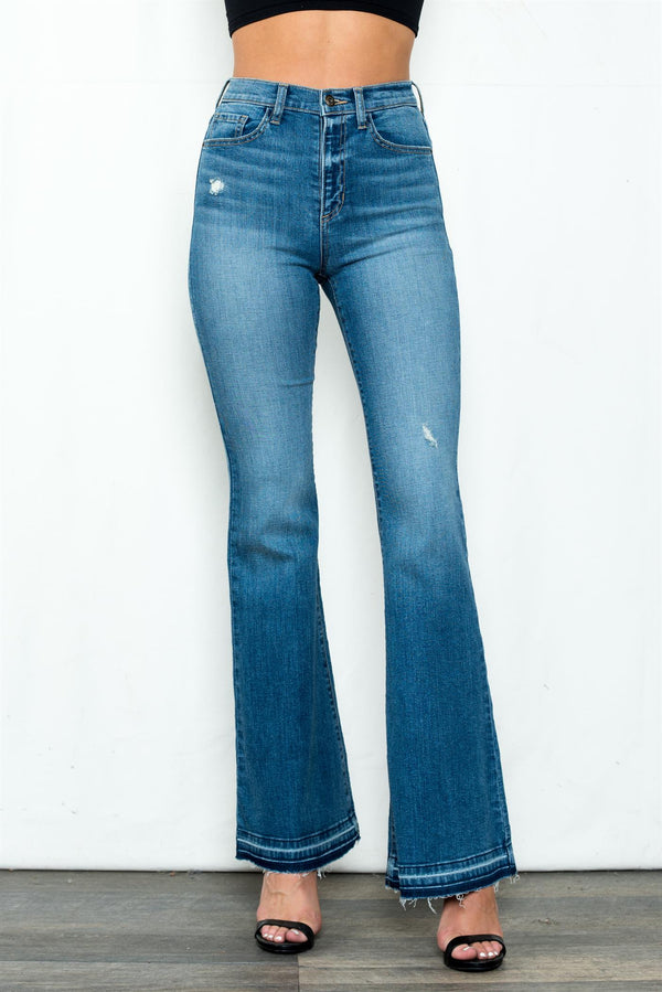 Medium Light High Rise Flared Jean