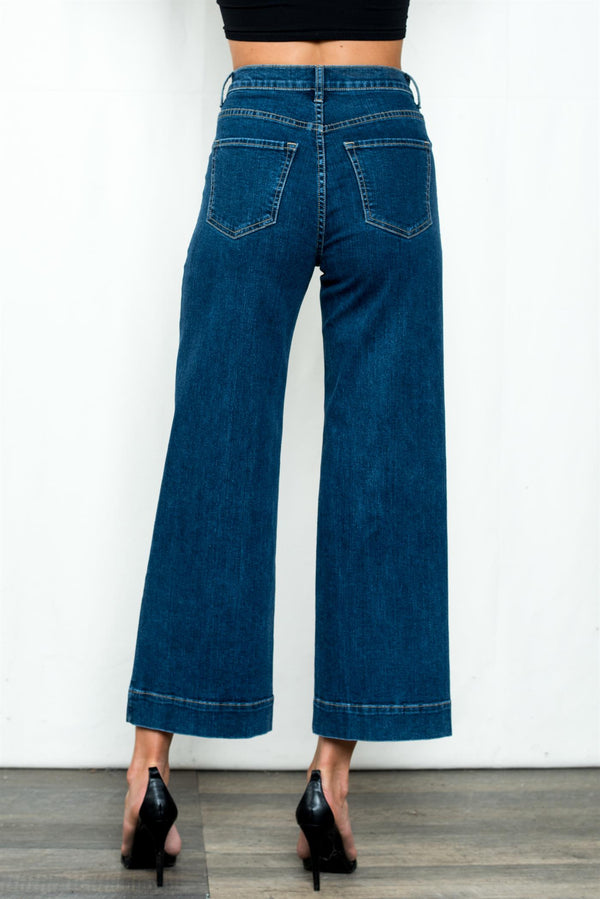 Medium Dark High Rise Wide Leg Jean