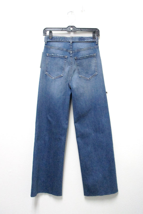 Medium Dark High Rise Wide Leg Belted Jean