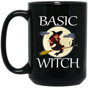 Funny Basic Witch Large Black Mug