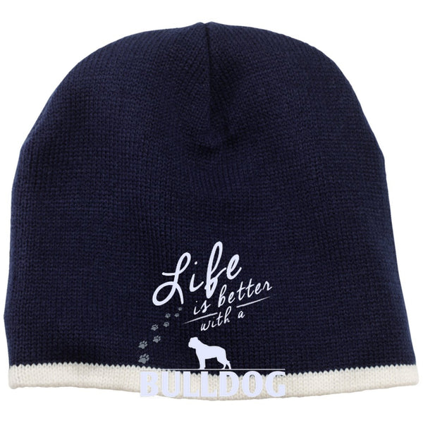 Bulldog - Life Is Better With A Bulldog Paws - Beanie (Embroidered)