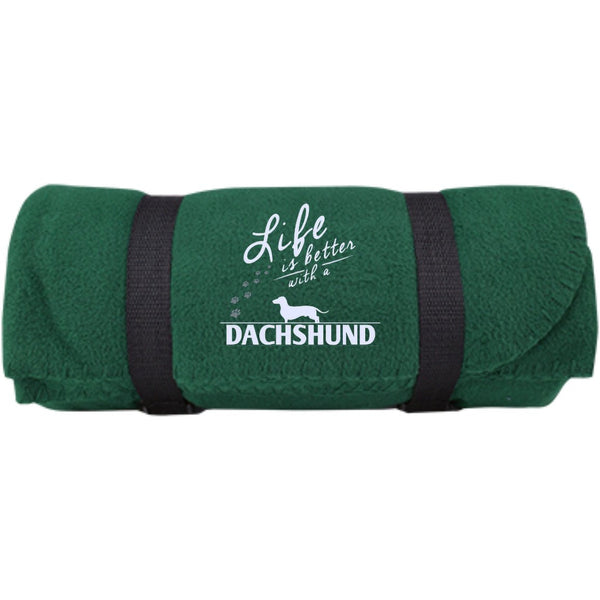 Dachshund - Life Is Better With A Dachshund Paws -  Fleece Blanket (Embroidered)