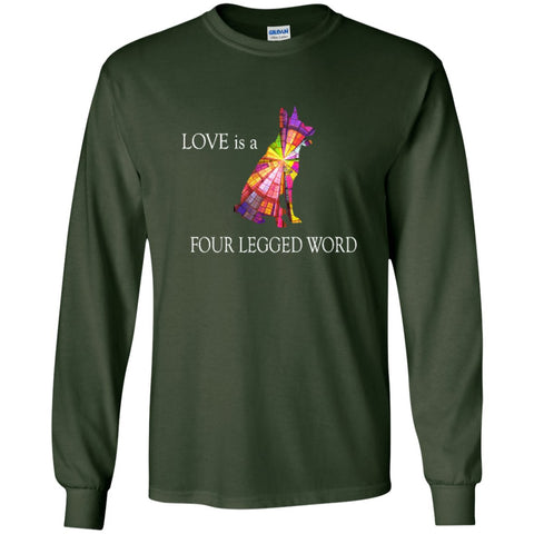Cool German Shepherd T Shirt - Love is a 4 letter word.png