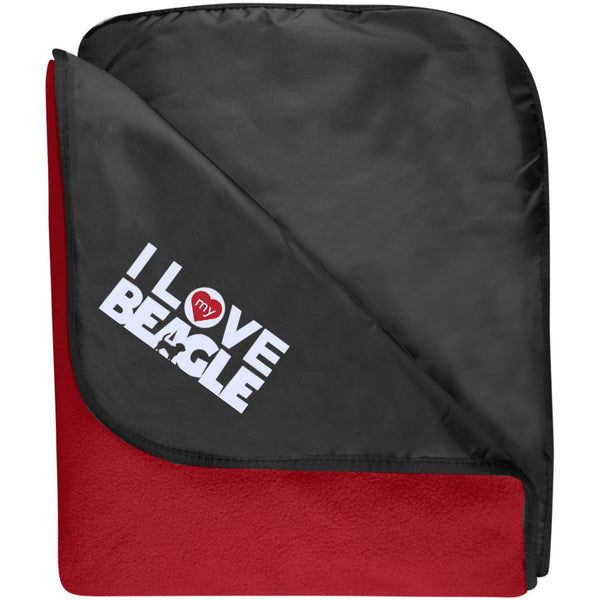 I Love My Beagle - Fleece & Poly Travel Blanket (Embroidered)