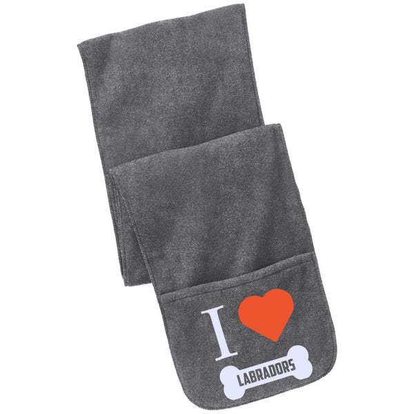 Labrador - I LOVE MY LABRADOR (BONE DESIGN) - Fleece Scarf with Pockets