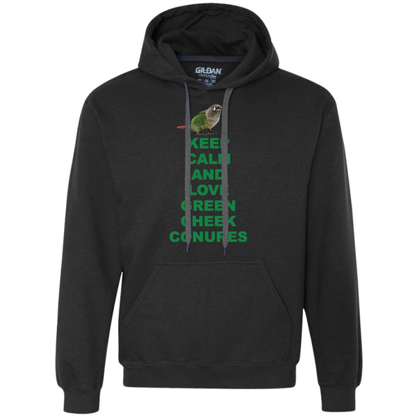 Keep Calm and Love Green Cheek Conures - Funny Shirt  Heavyweight Pullover Fleece Sweatshirt
